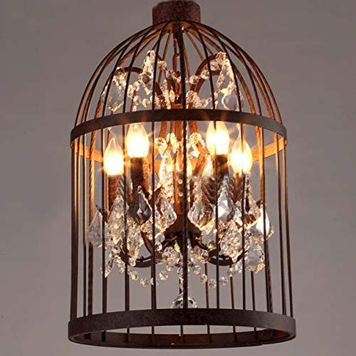 Ruanpu Vintage Pendelleuchte Deckenleuchte Kronleuchter Modern Crystal Vogelkäfig Eisen Hänge lampe 4 Glühbirne E14/E12 Socket Size: 35 * 60 cm [Energieklasse A+++] (220-240V) (Rost)