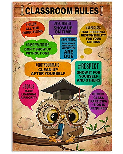 Teacher Classroom Rules Follow Possitive Attitute No Excuses Respect Owl Wall Art Hanging Poster Painting Photography Abstract Watercolor Living, Classroom, Home Decor No Frame Poster OERZ (24'x36')