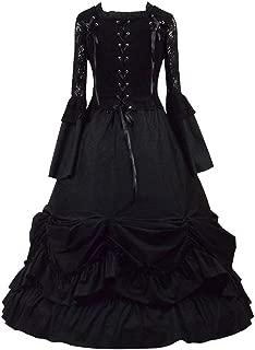 Womens Black Square Collar Gothic Victorian Classic Lolita Prom Ball Dress