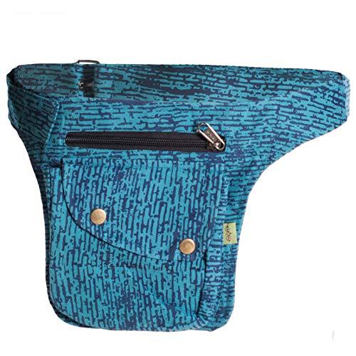 Vishes - Gestreifte Gürteltasche aus Baumwolle - Bedruckt türkis
