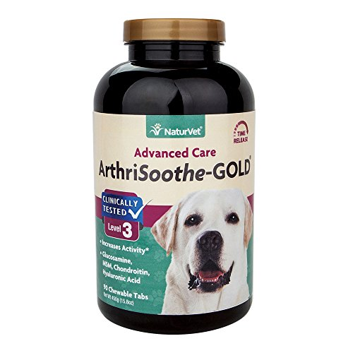 NaturVet Clinically Tested ArthriSoothe-GOLD Level 3 Advanced Joint Care for Dogs and Cats, 90 ct Time Release, ChewableTablets, Made in USA