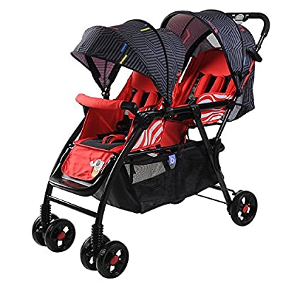 Bicicletas HAIZHEN  Cochecito Silla de Paseo Doble Cochecito de bebé Gemelo Puede Sentarse Plegable Plegable Cochecito de bebé Doble Ligero para recién Nacido (Color : Rojo)