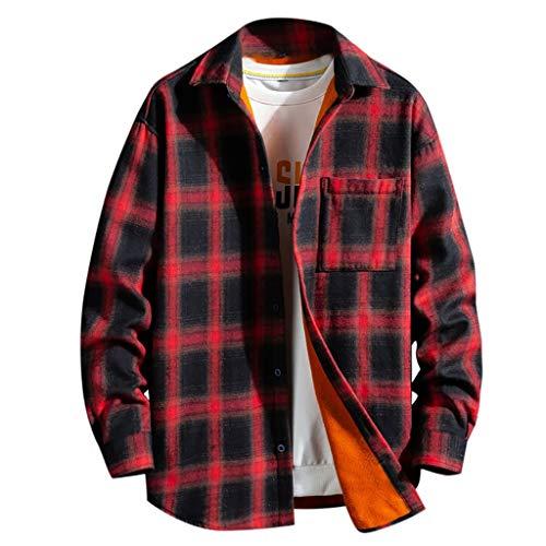 Camisa Hombre Invierno Cuadros,Camisa A Cuadros Gruesa Y De Cachemira para Hombres Blusa De Manga Larga De Moda