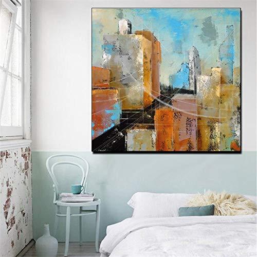 wZUN Arquitectura Abstracta Pintura al óleo Cartel impresión Paisaje Pared Arte Lienzo Pintura Imagen para el hogar impresión Lienzo Pared Arte Imagen 50x50cm
