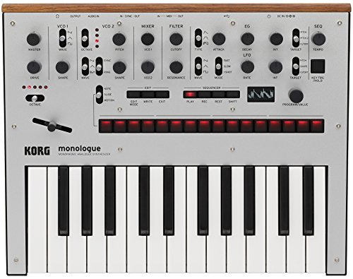 KORG Monologue SV Monologue Analog Synthesizer, Silver, 25 Keys, 16 Step Sequencer, Oscilloscope, Battery Powered, Lightweight, Perfect for Carrying