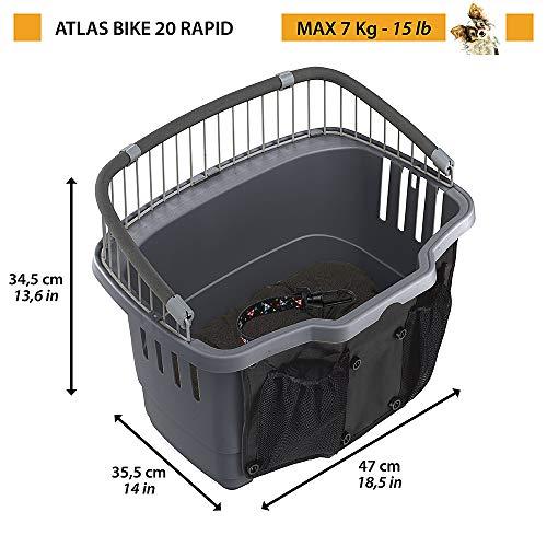 Ferplast Fahrradkorb für kleine Hunde Atlas Bike 20 Rapid Fahrradkorb für kleine Hunde bis 7 kg mit waschbarem Kissen, Transportbox für Haustiere, 47 x 35,5 x 34,5 cm, grau