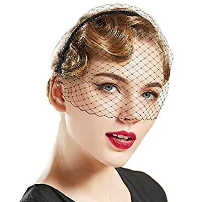 BABEYOND 1920s Flapper Fascinator Mesh Veil Headband Bridal Wedding Tea Party Fascinator Veil for Women