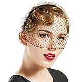 BABEYOND Bridal Wedding Veil Fascinator Mesh Lace Veil Headband for Women Girls Vintage Fascinator with Veil for Tea Party Halloween Costume (Black)