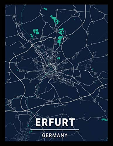 Erfurt Germany: city map; dot grid notebook with map on the cover, gift for travel lovers, souvenir