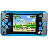 QINGSHE QS-4 Handheld Game Console for Kids,Portable Arcade Entertainment Gaming System Retro FC Video Game Player 2.5' LCD Built-in 182 Classic Games,Birthday Present for Children(Blue)