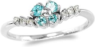【鑑別付】K18WG 天然パライバトルマリン 0.13ct ダイヤモンド 0.06ct 6-16号 18金ホワイトゴールド リング 指輪 レディース