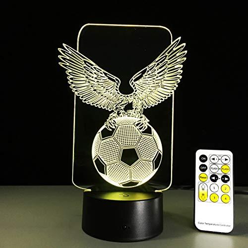 QAZEDC 3D nachtlampje voetbal Eagle Wings 7 kleuren veranderende USB nachtlamp LED 3D tafellamp voor Bedr Slee Home Bar bureau decoratie kinderen jongens geschenken (gratis verzending)