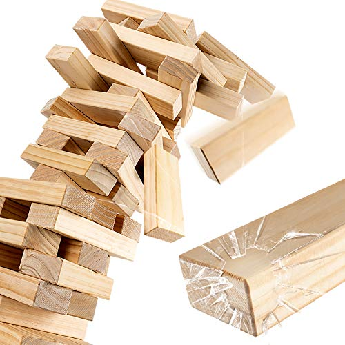 ROPODA Wood Block Stack - Giant Tumbling Timbers Game  2.5 feet Tall, Grows to Over 5.5 feet  Made of Premium Pinewood for Adult, Kids, Family Outdoor/Indoor Fun.