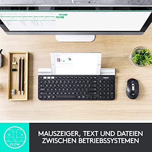 Logitech M590 Silent Kabellose Maus, Bluetooth und 2.4 GHz Verbindung via Unifying USB-Empfänger, 1000 DPI Optischer Sensor, 2-Jahre Akkulaufzeit, PC/Mac – Graphite/Schwarz - 6