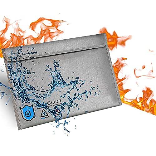 Bolsa Ignifuga Impermeable   Bolsas Ignifugas Documentos   Bolsa Ignifuga Dinero de Silicona Mejorada para Documentos A4apta para,Efectivo, factura,iPad,teléfono móvil(40 x 28 cm)