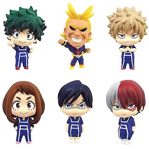 6 Unids / Set My Hero Academia All Might Izuku Midoriya Katsuki Bakugou Shoto Todoroki Iida Tenya Ochaco Uraraka Q Versión Figuras Juguetes