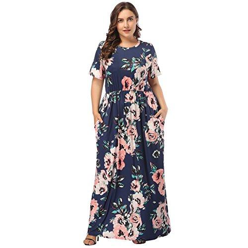 Lover-Beauty Vestido Largo Mujer Talla Grande Moda Bolsillo Top Falda para Fiesta Verano Manga Corta Floral Estampada Suleto Moda de Ropa Elegante Maxi