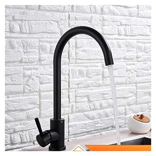 Matte Black Kitchen Faucet Cubierta de agua caliente y fría Montado 360 Girar la cocina Grifo del grifo de la manija de una sola manija de latón toques de agua para la cocina grifería mezclador fregad