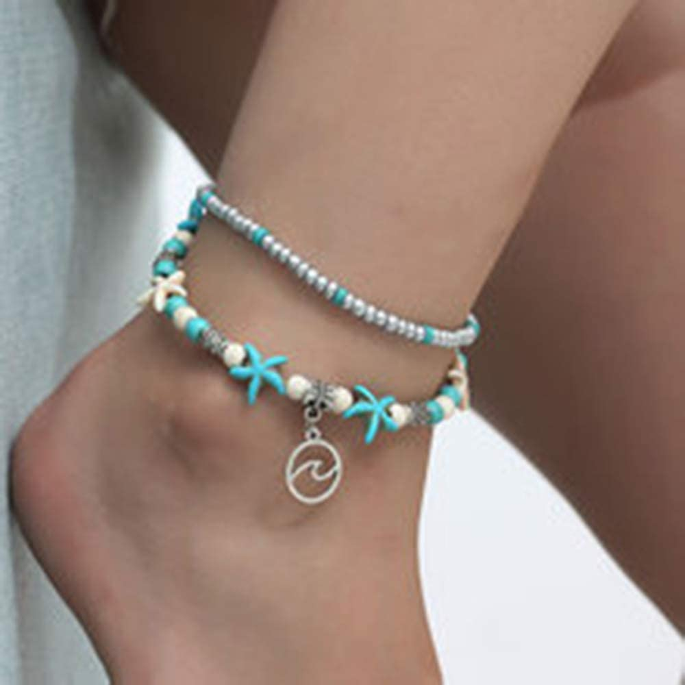 doublelovely Ankle Bracelet for Women Vintage Handmade Leg Bracelet Foot Jewelry