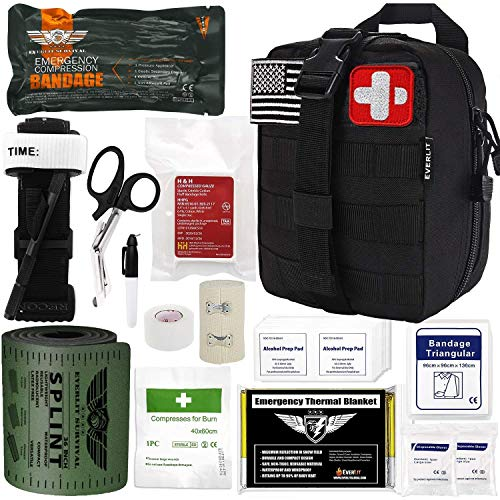 Everlit Emergency Trauma Kit with Aluminum Tourniquet 36' Splint, Military Combat Tactical IFAK for First Aid Response, Critical Wounds, Gun Shots, Blow Out, Severe Bleeding Control and More (Black)