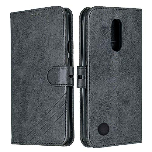 ISADENSER Compatible with LG K20 Plus/LG K10 2017 Case/LG K20V Case, Premium PU Leather Flip Cover Vogue Business with Kickstand and Credit Slots Wallet Phone Case for LG K10 2017 Retro Black HX