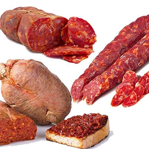 ANGEBOT 3 kg typische kalabresische Salami: 1 kg würzige Soppressata + 1 kg kleine Wurst + 1 kg würzige Nduia + 1 Packung kalabresisches Hartbrot KOSTENLOS