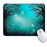 ZOMOY マウスパッド 個性的 おしゃれ 柔軟 かわいい ゴム製裏面 ゲーミングマウスパッド PC ノートパソコン オフィス用 デスクマット 滑り止め 耐久性が良い おもしろいパターン (草深い妖精の森夜の輪郭黒の夢花ホタル自然暗い公園屋外バック)