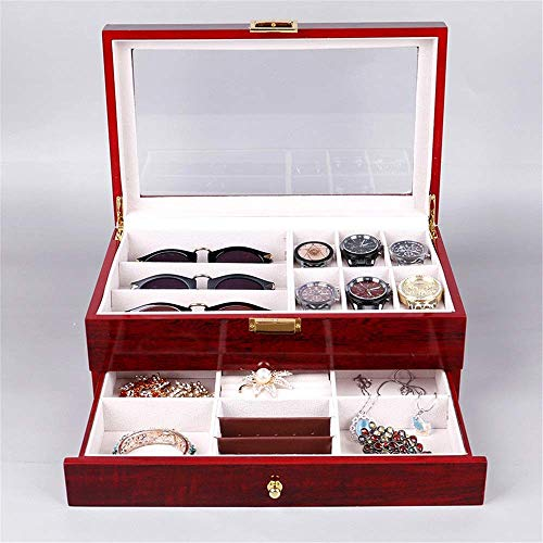 GONGFF Caja de reloj pintada de doble capa Joyero de alta gama, joyería de almacenamiento de collar caja de madera para pulseras de gemelos (color: rojo, tamaño: talla única)