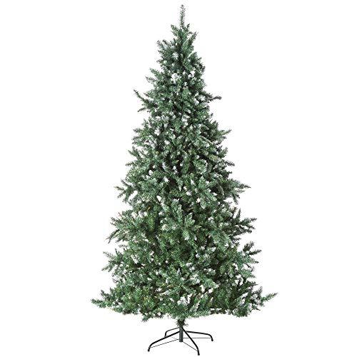 HOMCOM Árbol de Navidad de 2012 Ramas con Soporte Metálico Árbol 210 cm Puntas Blancas Artificial de Navidad Realista para Interiores Verde