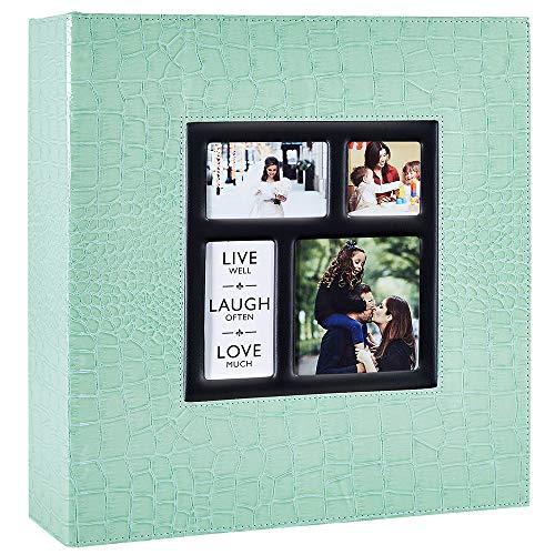 Ywlake Album Albumini Foto Portafoto 10x15 con Tasche Coccodrillo, Grande Albumino Foto Cover in Pelle per Wedding Family (500 Tasche, Teal)