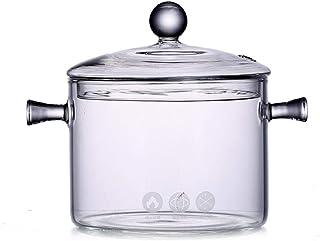 Cazo de cristal con tapa, 1350ml resistente al calor de
