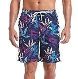 ATTRACO Tropical Swim Trunks Hawaii Summer Boardshorts Beach Shorts Men 32