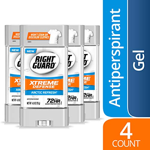 Right Guard Xtreme Defense Antiperspirant Deodorant Gel, Arctic Refresh, 4 Ounce (Count of 4)