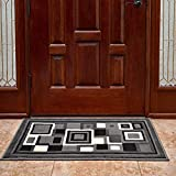 Cosy House Front Door Mat for Inside, Indoor Doormats for Entryway - Waterproof Low Profile Entrance Way Rug - Resist Stains, Soil, Fading, Freying - Natural Jute Backing | 24' x 36', Red