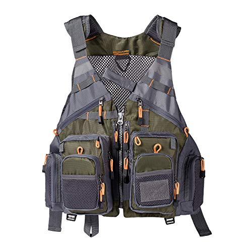 Lightbare Fly Fishing Vest for Men with Pockets for, Army Green, Size One Size