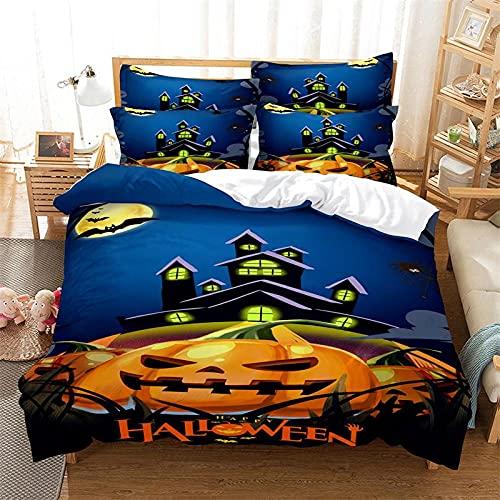 Funda Nordica Cama 150cm Halloween Azul Fundas para Edredón,3 Piezas Bedding Juego de Funda de Edredón - Microfibra Funda de Nórdica y 2 Fundas de Almohada 50 X 75 Cm