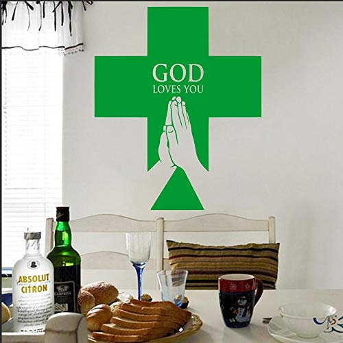 Wall Sticker,37x51cm,Christian Cross Wall Decal Sticker Christian Cross Jesus Wall Decal God Loves You Jesus Home Wall Decal Poster