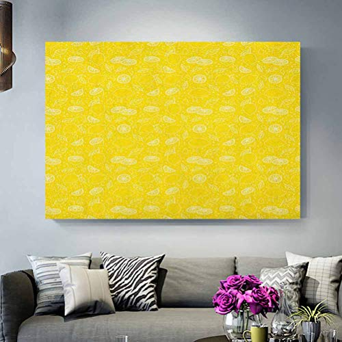 ScottDecor Yellow Christmas Wall Decorations Juicy Lemons Citrus Fresh Slices with Leaves and Dots Health Vitamins Food Pattern Teen Boys Yellow White L30 x H60 Inch