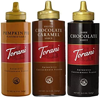 Torani 16.5oz Seasonal 3-pack Sampler, Pumpkin Pie, Salted Chocolate Caramel & Chocolate Sauces