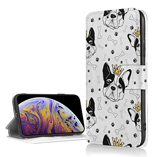 French Bulldog with Royal Crown Bones and Footprints PU Leather Wallet Phone Case for iPhone XR 5.8 Inch Case Flip Folio Phone Case Cover with Card Slots