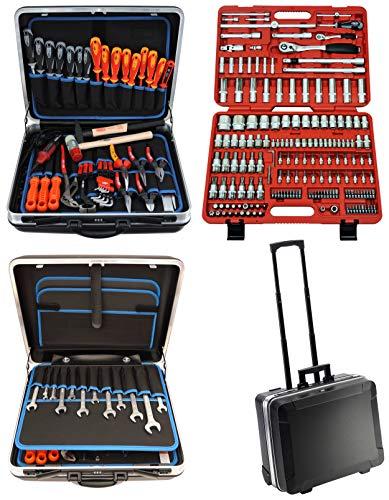 FAMEX 604-09 Trolley ABS Werkzeugkoffer Komplettset High-End Qualität mit 174-teiligem Steckschlüsselsatz