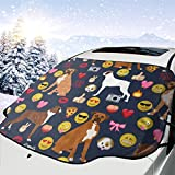 Pillow Bags Boxer Emoji Cute Funny Dog Breed Fabric Car Front Windshield Cover Foldable Sunshade Fits Most Cars, Trucks, SUV's