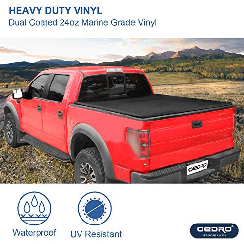 Oedro Upgraded Soft Tri Fold Truck Bed Tonneau Cover On Top Compatible With 2002 2020 Dodge Ram 1500 Incl 2019 New Body 2003 2018 Dodge Ram 2500 3500 With 6 4ft Bed Fleetside Without Ram Box