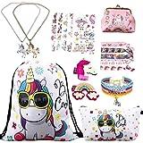 RLGPBON Gifts for Girls Unicorn Drawstring Backpack,Makeup Bag,Unicorn Jewerly Necklace Bracelet,Hair Ties (9 Pack)