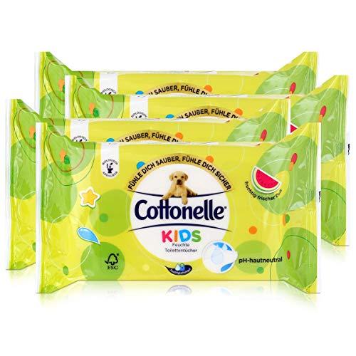 4x Hakle Cottonelle feuchte Toilettentücher Kids 42 Tücher, Nachfüller