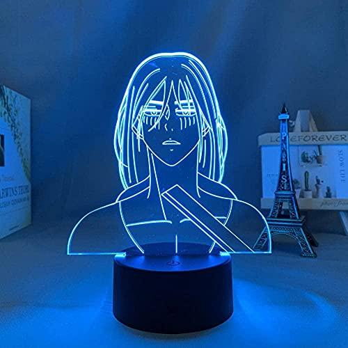 Lámpara de escritorio de mesa de ilusión óptica 3D Anime Attack on Titan Alan Anime Aot Attack on Titan7 colores cambian Home Bar Decoración de fiesta Boy Holiday Gifts-16 color remote control