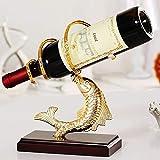 DC Wesley Creativo Anual Pescado Estante del Vino Creativo Estante del Vino Decoración Moda Metal UVA Vino Estante Bandeja De Vino Decoración (Color : Gold)