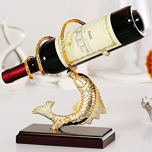 ZHHk Creativo Anual Pescado Estante del Vino Creativo Estante del Vino Decoración Moda Metal UVA Vino Estante Bandeja De Vino Decoración (Color : Gold)