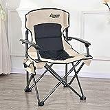 GREATY Klappbarer Deluxe Camping Stuhl mit Armlehne und Seitentasche, tragbarer übergroßer Gartenstuhl Hochleistungsstahlrahmen Outdoor Sommersitz, 2 Stühle,Beige