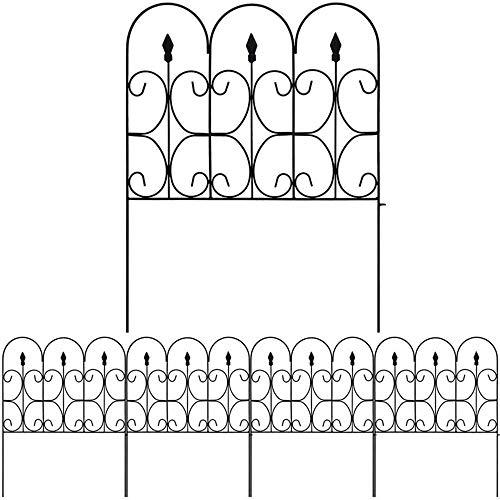 IEVEY - Valla decorativa para jardín (5 unidades, 61 x 81 cm), metal recubierto a prueba de herrumbre